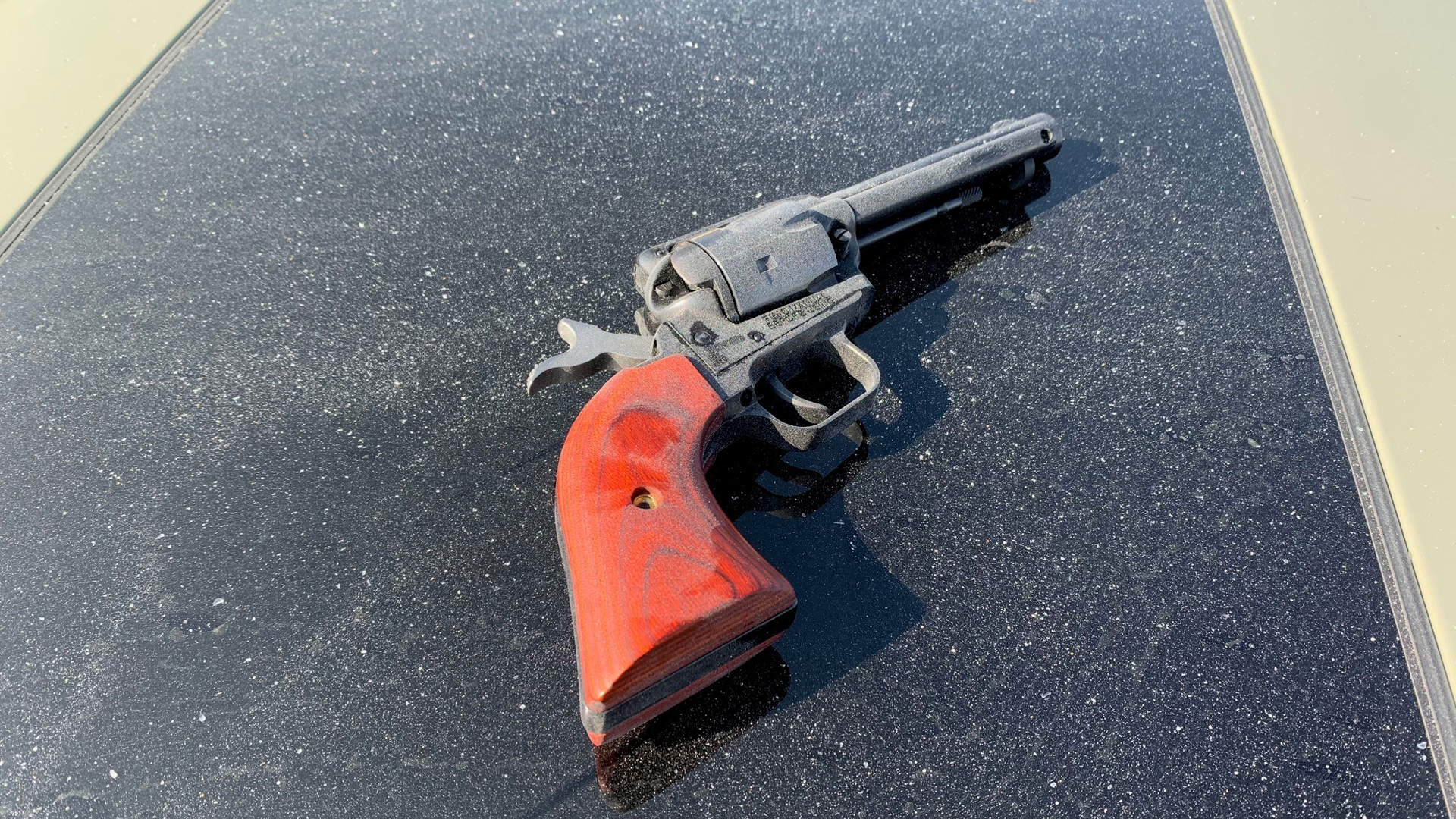 A gun recovered from the scene of a fatal CHP shooting on Oct. 22, 2020 is shown in a photo released by the San Bernardino County Sheriff's Department.