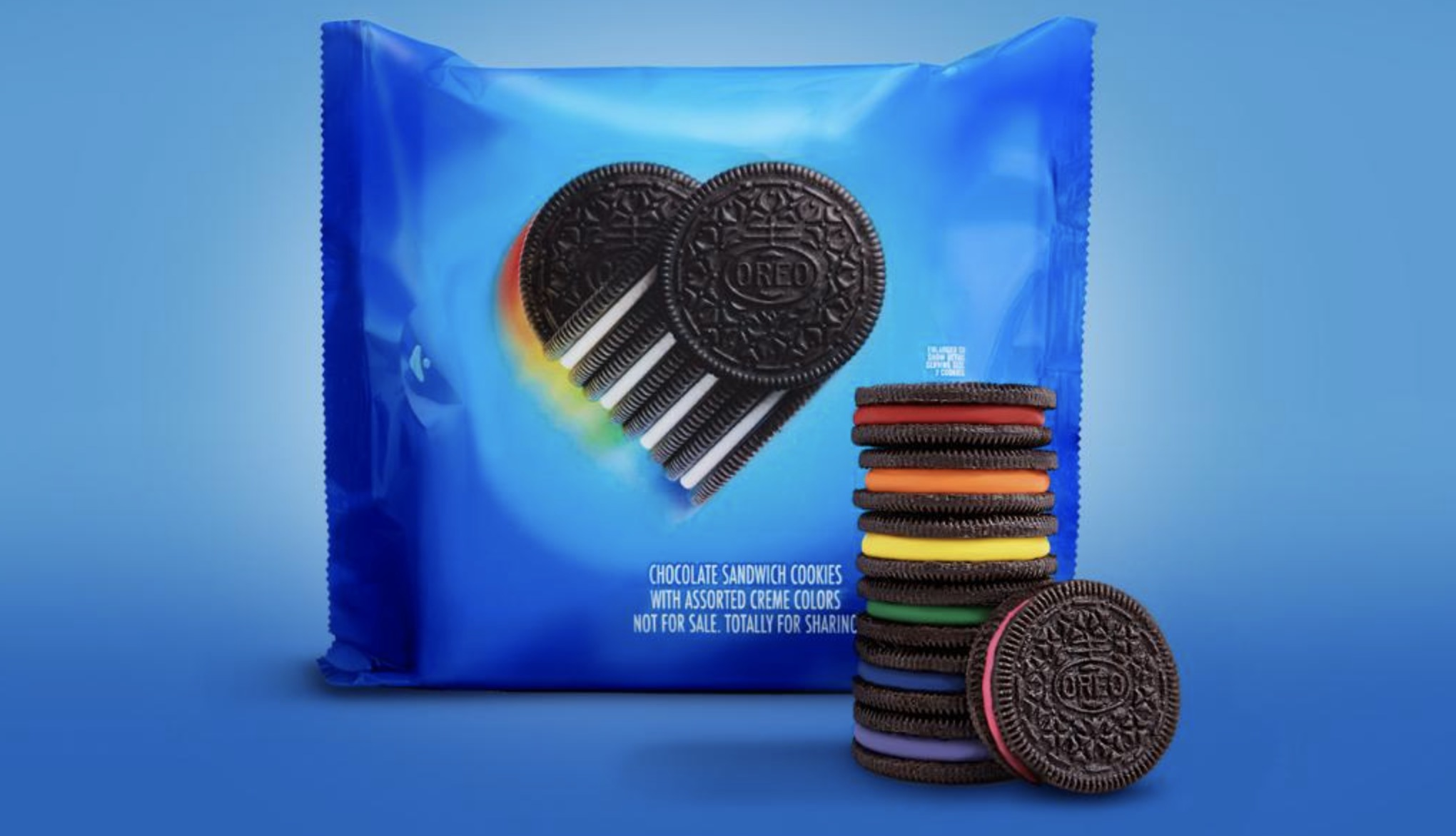 A pack of Oreo's limited-edition rainbow cookies is seen in a photo released by the company.