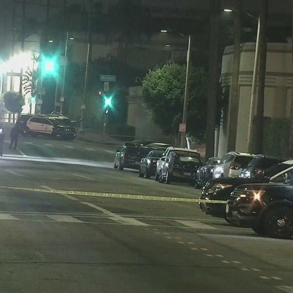 A man being pursued in connection with a sexual assault case barricaded himself inside a building on the Paramount Pictures lot Sunday night. (KTLA)