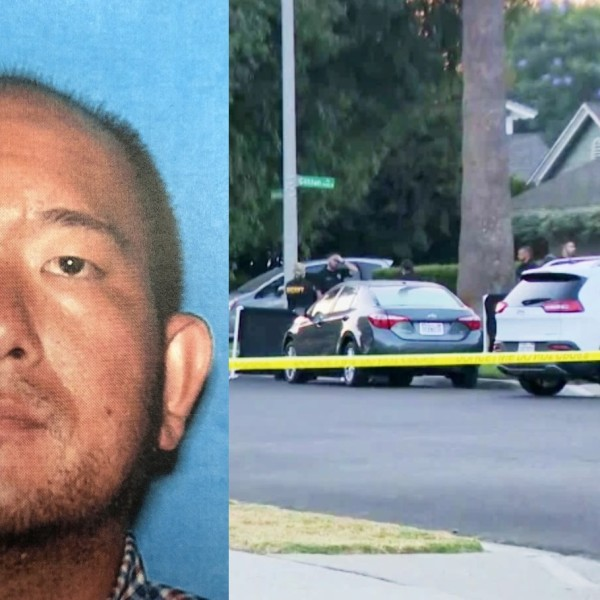 At left, Timothy Takehara is seen in an undated photo released by the Placentia Police Department. At right, officials respond to a Placentia home to investigate a suspected murder-suicide on Oct. 7, 2020. (KTLA)