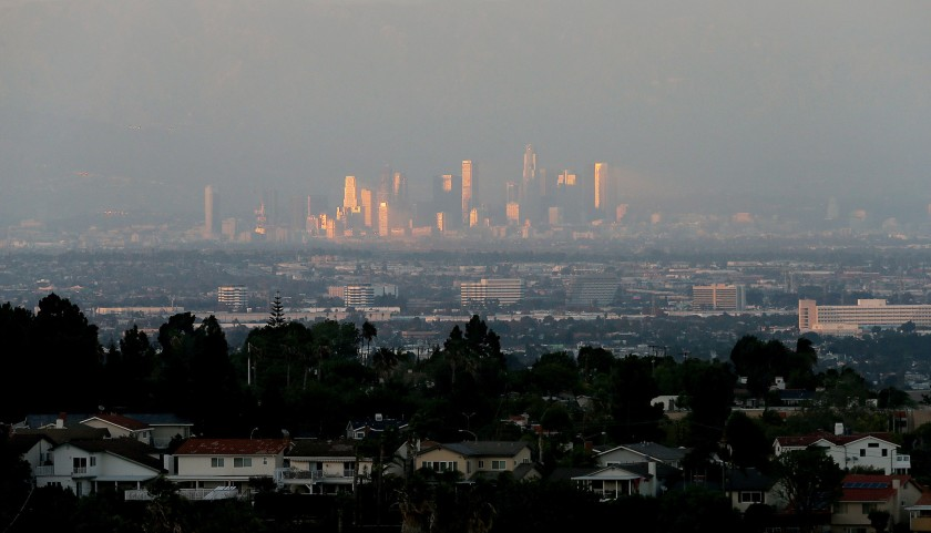 A November 2015 file photo shows the downtown Los Angeles skyline. (Los Angeles Times)