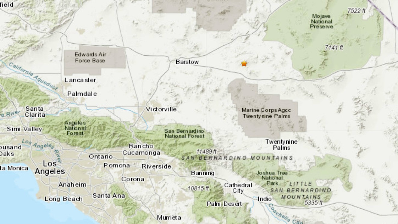 A 3.2 magnitude earthquake struck near Barstow on Oct. 22, 2020. (U.S. Geological Survey)