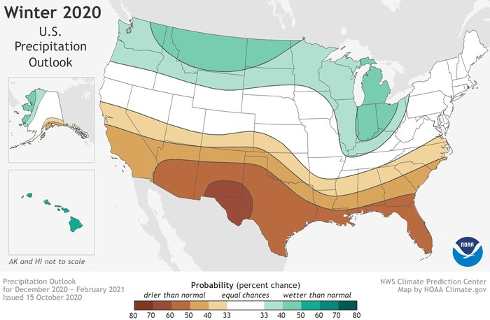 This 2020-2021 U.S. Winter Outlook map for precipitation shows drier-than-average weather is favored across the South. (NOAA Climate.gov, using NWS CPC data)