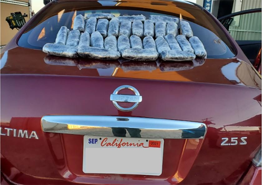 U.S. Border Patrol agents seized nearly $67,000 worth of methamphetamine from this Nissan on Friday near the Salton Sea. (U.S. Customs and Border Protection via LATimes)