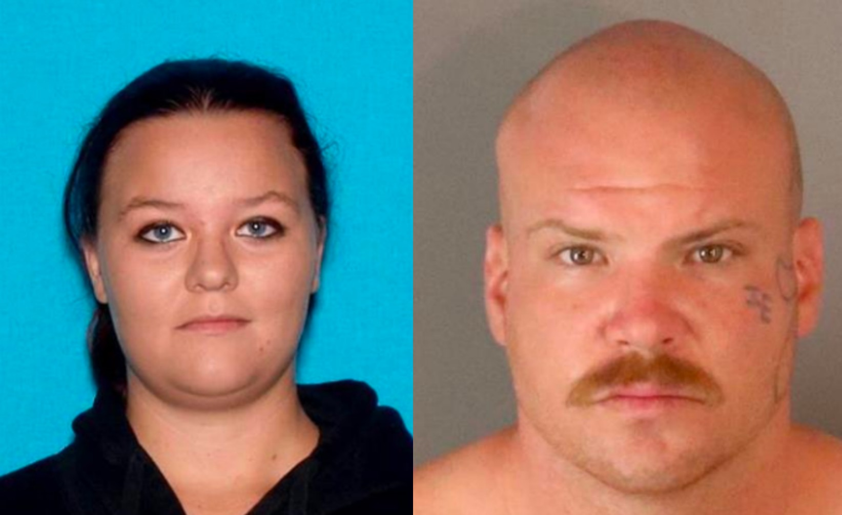 From left to right: Homicide victim Mercey Marie Brasher, 24, appears in a photo released on Oct. 24, 2020. David Gilbert Colvin, 29, appears on the right. He is being held at San Bernardino County West Valley Detention Center on $1.2 million bail in connection with the fatal shooting of Brasher and wounding of an unidentified man Oct. 19. (San Bernardino Police Department)