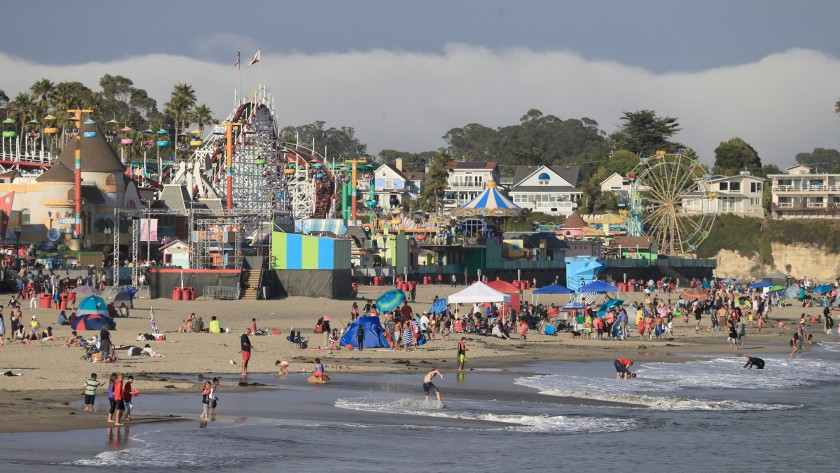 The Santa Cruz Beach Boardwalk is poised to become one of the first amusement parks to reopen since the COVID-1`9 pandemic forced its closure. (Allen J. Schaben/Los Angeles Times)