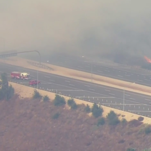 Smoke from the Silverado Fire in Irvine was causing unhealthy conditions in Orange County on Oct. 26, 2020. (KTLA)