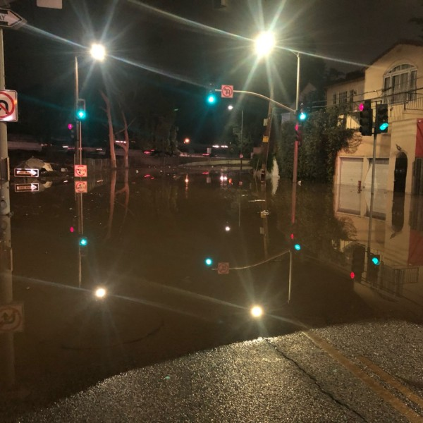 A flooded street in Hollywood after a water main break on Oct. 22, 2020. (KTLA)