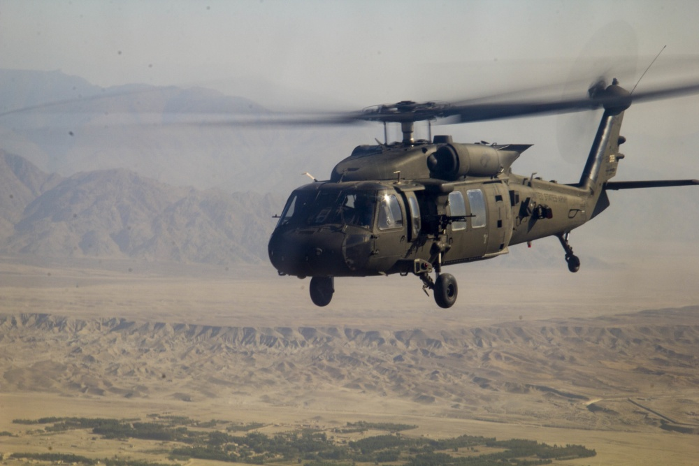 A U.S. Army UH-60 Black Hawk helicopter, assigned to 1st Combat Aviation Brigade, 1st Infantry Division, during a mission in eastern Afghanistan Oct. 23, 2016. (Photo by Capt. Grace Geige)