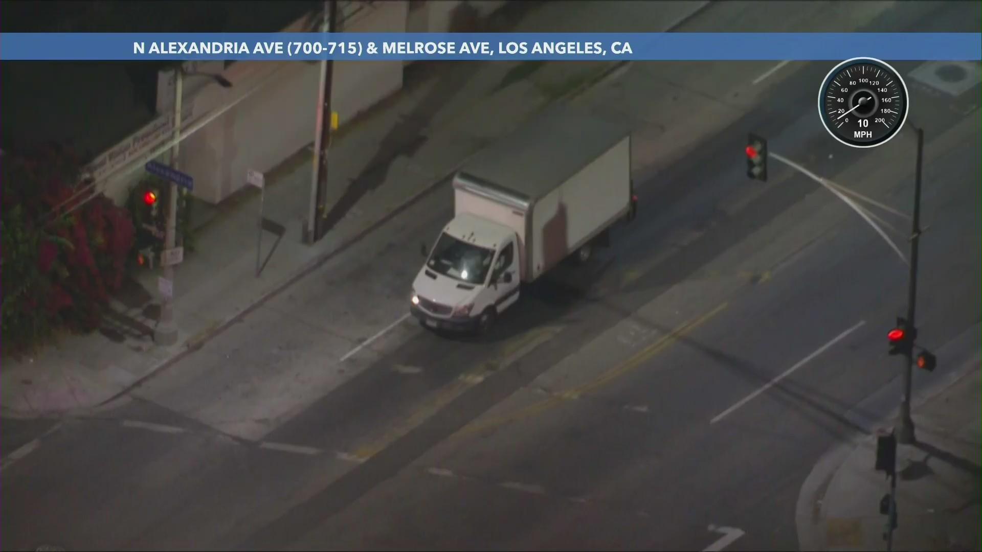 Authorities pursued a truck on Oct. 26, 2020. (KTLA)