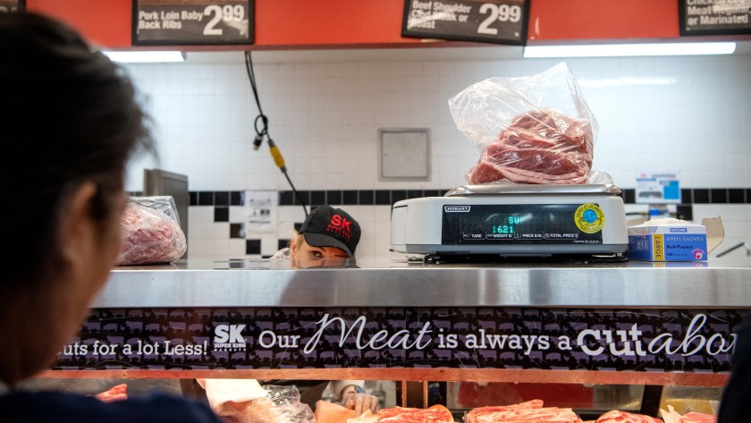 The meat section of Super King Markets is seen in an undated photo. (Mariah Tauger / Los Angeles Times)