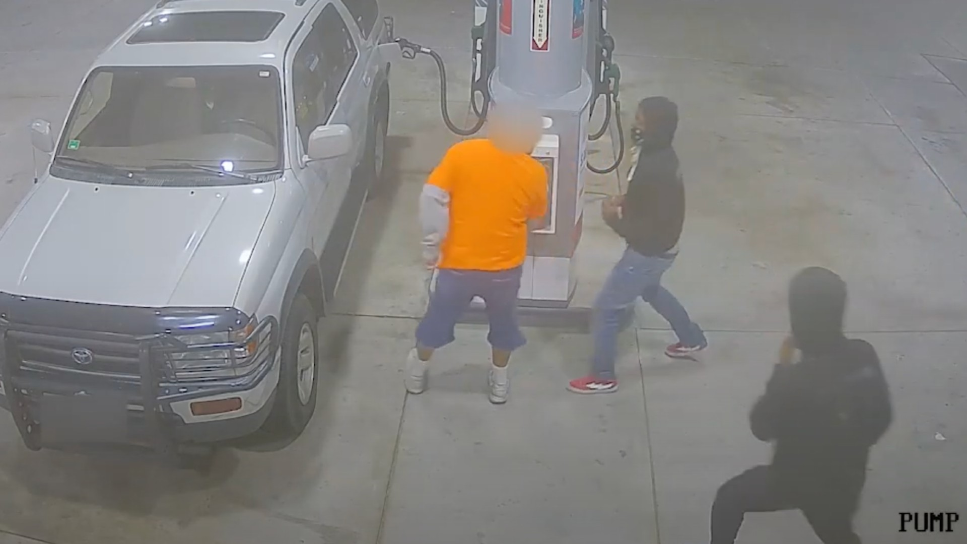 Security cameras captured a carjacking at a Chevron station in Victorville on Nov. 12, 2020, in footage released by the San Bernardino County Sheriff's Department.