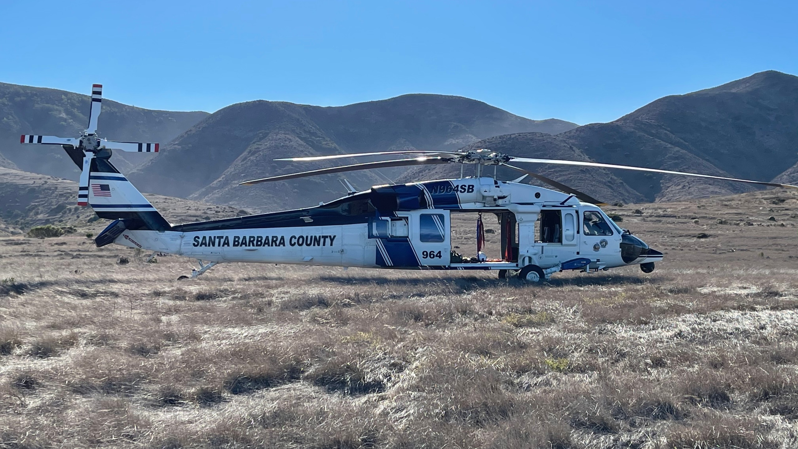 Crews search for a diver who went missing while looking for lobsters near the Painted Cave Preserve of Santa Cruz Island on Nov. 29, 2020. (Santa Barbara Sheriff's Office)