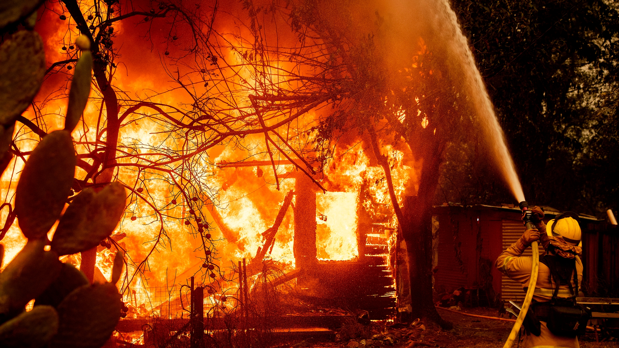 In this Oct. 24, 2019, file photo, a firefighter sprays water on a burning home as the Kincade Fire burns through the Jimtown community of unincorporated Sonoma County, Calif. Fire officials say Pacific Gas & Electric transmission lines sparked a wildfire last year in Northern California that destroyed hundreds of homes and led to the evacuation of nearly 100,000 people. The California Department of Forestry and Fire Protection issued the finding Thursday, July 16, 2020. (AP Photo/Noah Berger, File)