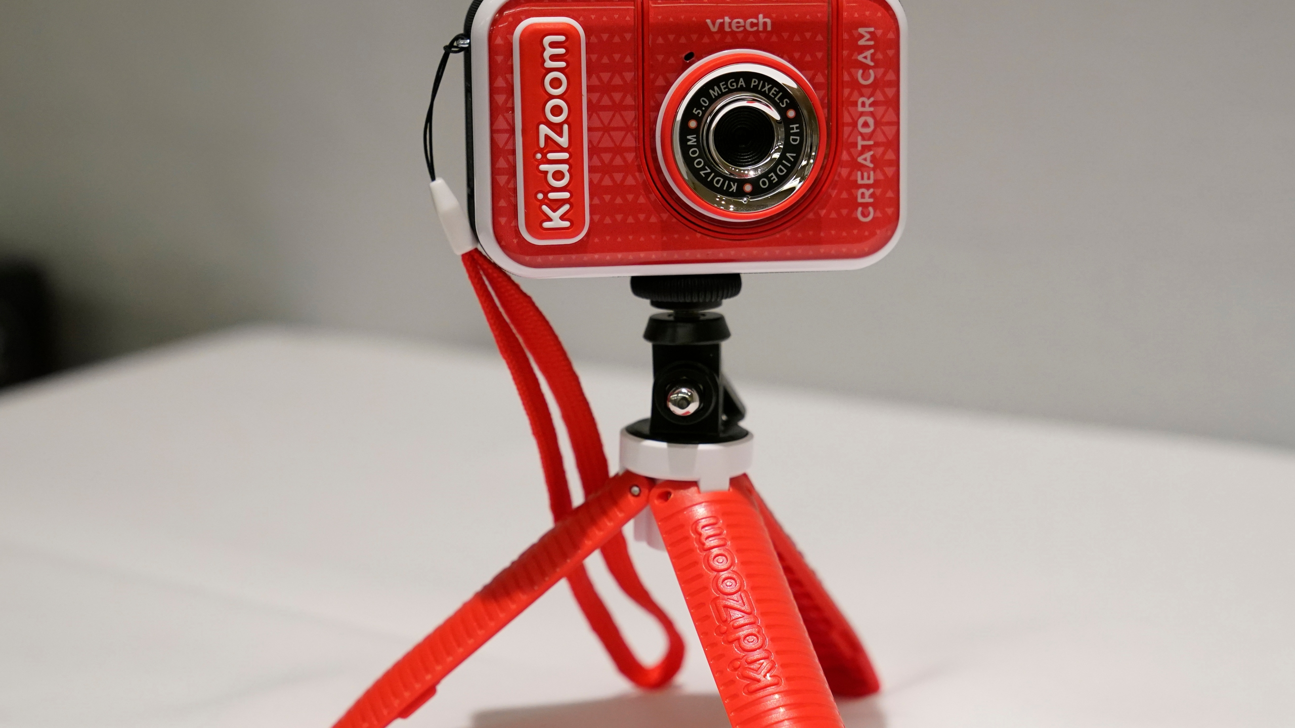A KidiZoom Creator Cam by VTech is displayed at the Toy Fair in New York on Sept. 17, 2020. (Kathy Willens / Associated Press)