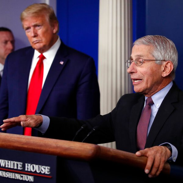 In this April 22, 2020, file photo, President Donald Trump listens as Dr. Anthony Fauci, director of the National Institute of Allergy and Infectious Diseases, speaks about the coronavirus in the James Brady Press Briefing Room of the White House in Washington. (AP Photo/Alex Brandon, File)