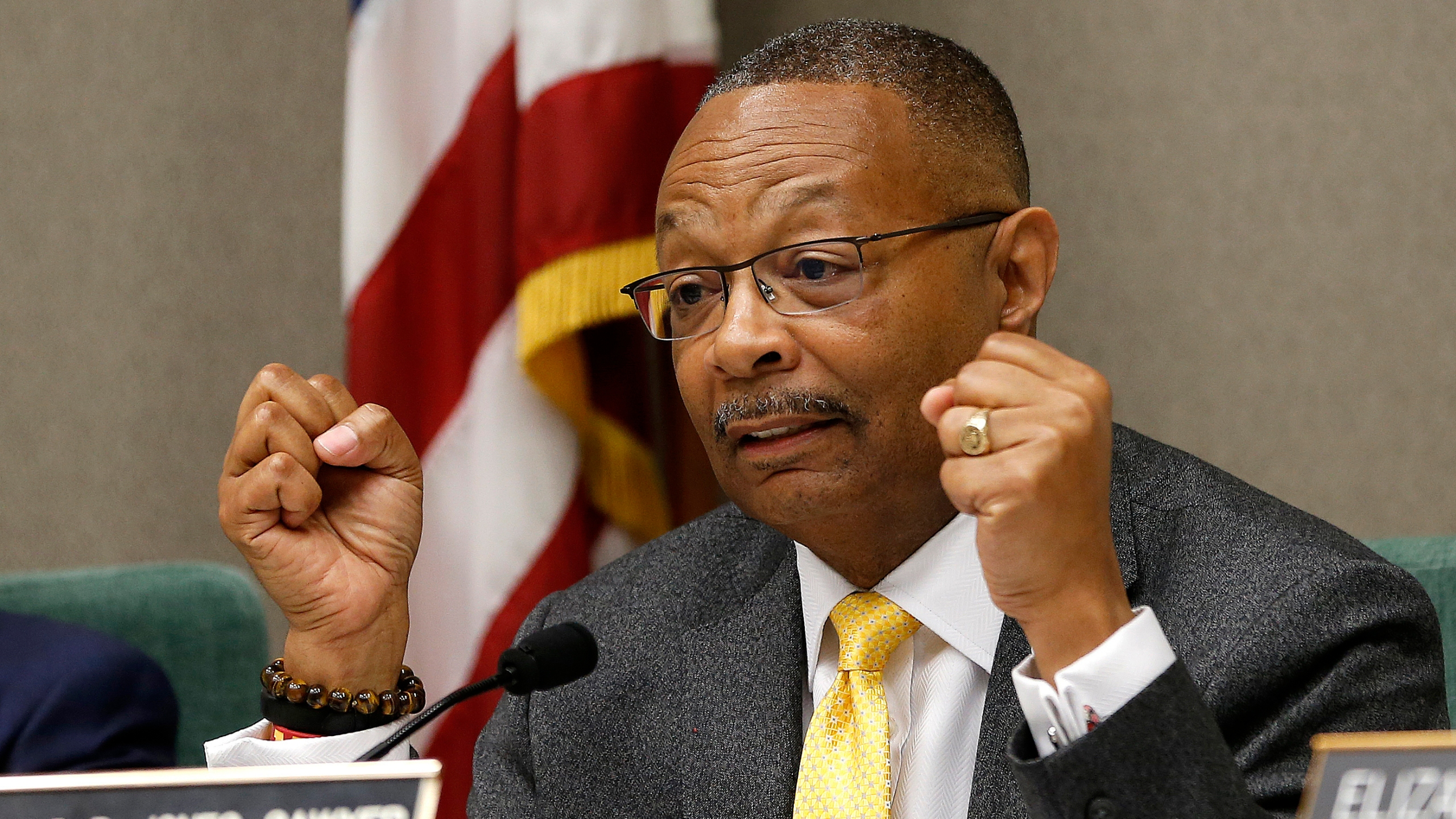 Assemblyman Reginald Jones-Sawyer, D-Los Angeles, chairman of the Assembly Public Safety Committee, discusses legislation to restrict the use of deadly force by police during a hearing on the measure in Sacramento on April 9, 2019. (Rich Pedroncelli / Associated Press)