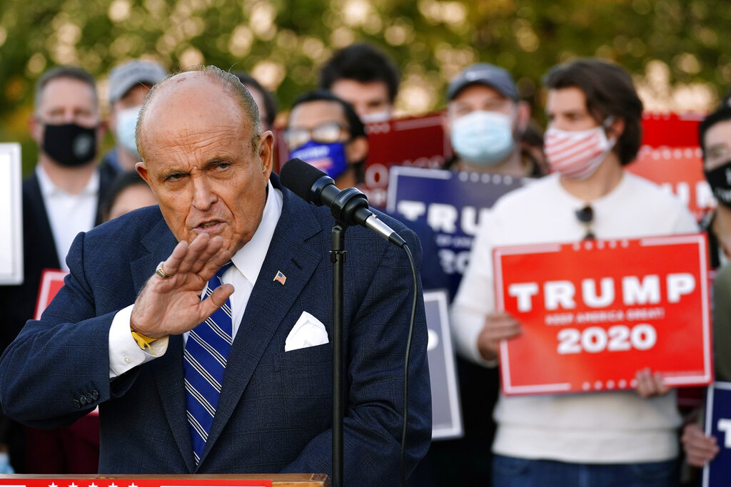 Rudy Giuliani, a lawyer for President Donald Trump, speaks during a news conference on legal challenges to vote counting in Pennsylvania on Nov. 4, 2020, in Philadelphia. (AP Photo/Matt Slocum)