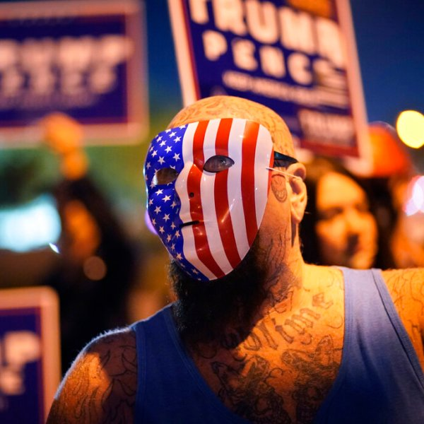 Supporters of President Donald Trump protest the Nevada vote in front of the Clark County Election Department on Nov. 4, 2020, in Las Vegas. (AP Photo/John Locher)