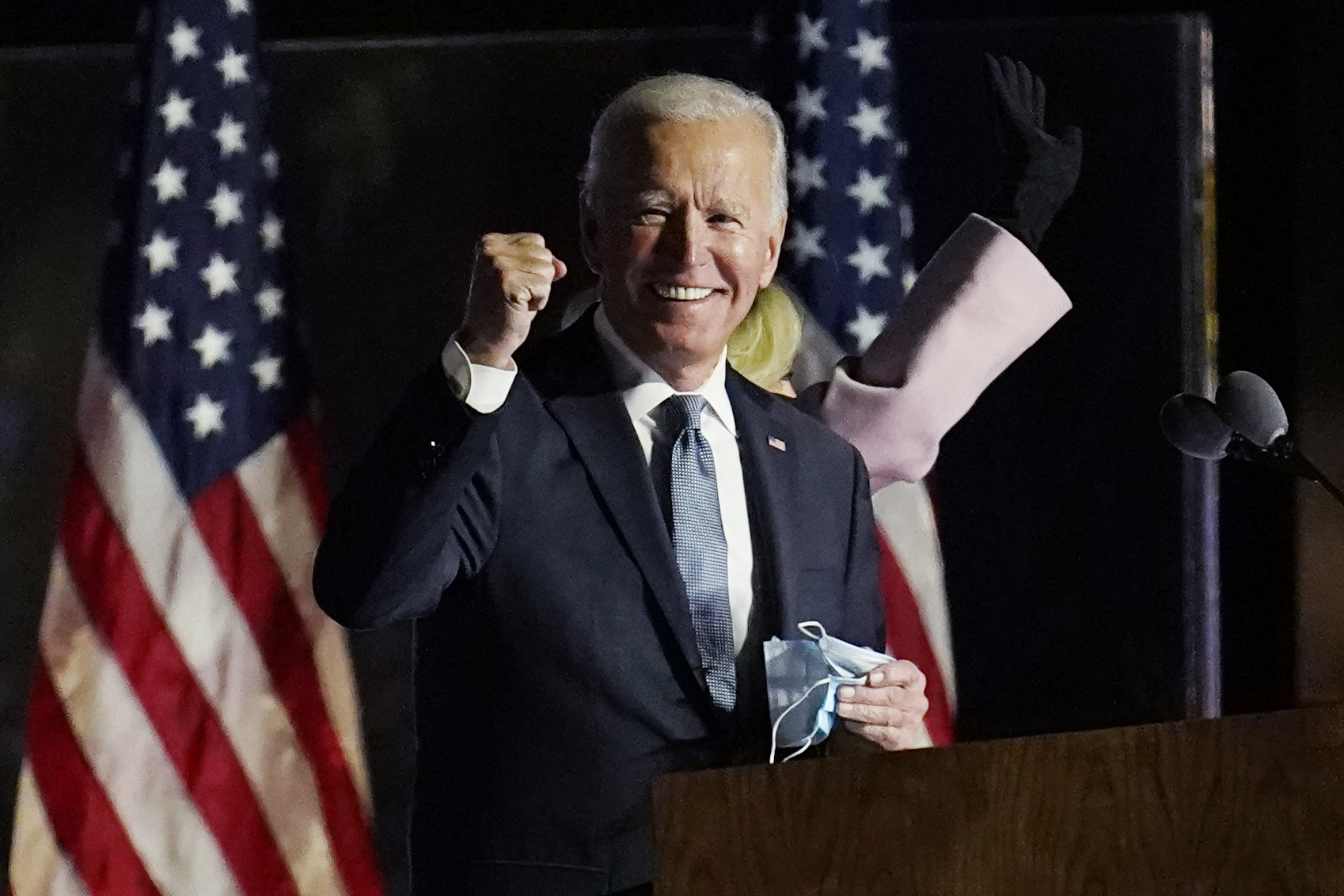 Democratic presidential candidate former Vice President Joe Biden speaks to supporters, early Wednesday, Nov. 4, 2020, in Wilmington, Delaware. (AP Photo/Paul Sancya