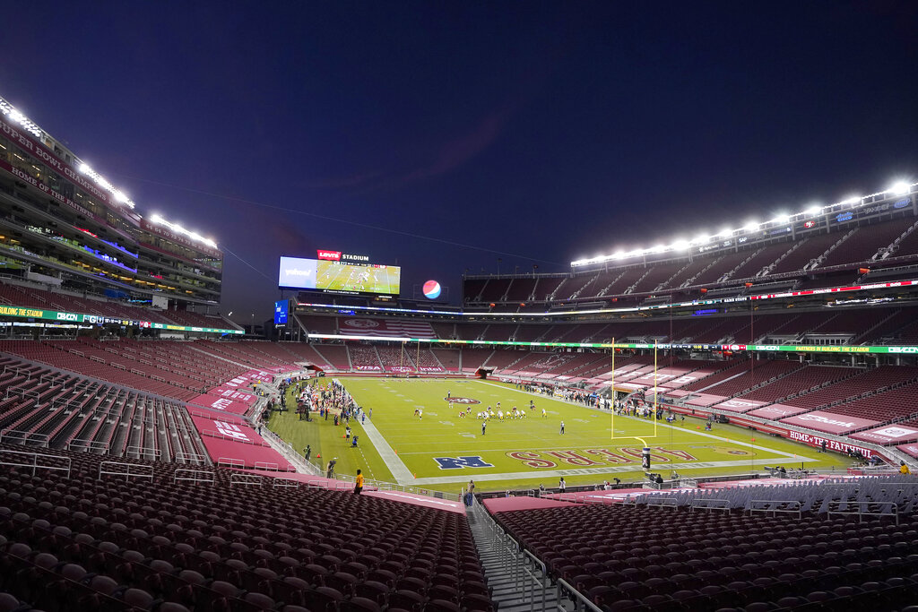 Empty seats at Levi's Stadium are shown during the first half of an NFL football game between the San Francisco 49ers and the Green Bay Packers in Santa Clara on Nov. 5, 2020. (AP Photo/Jeff Chiu)
