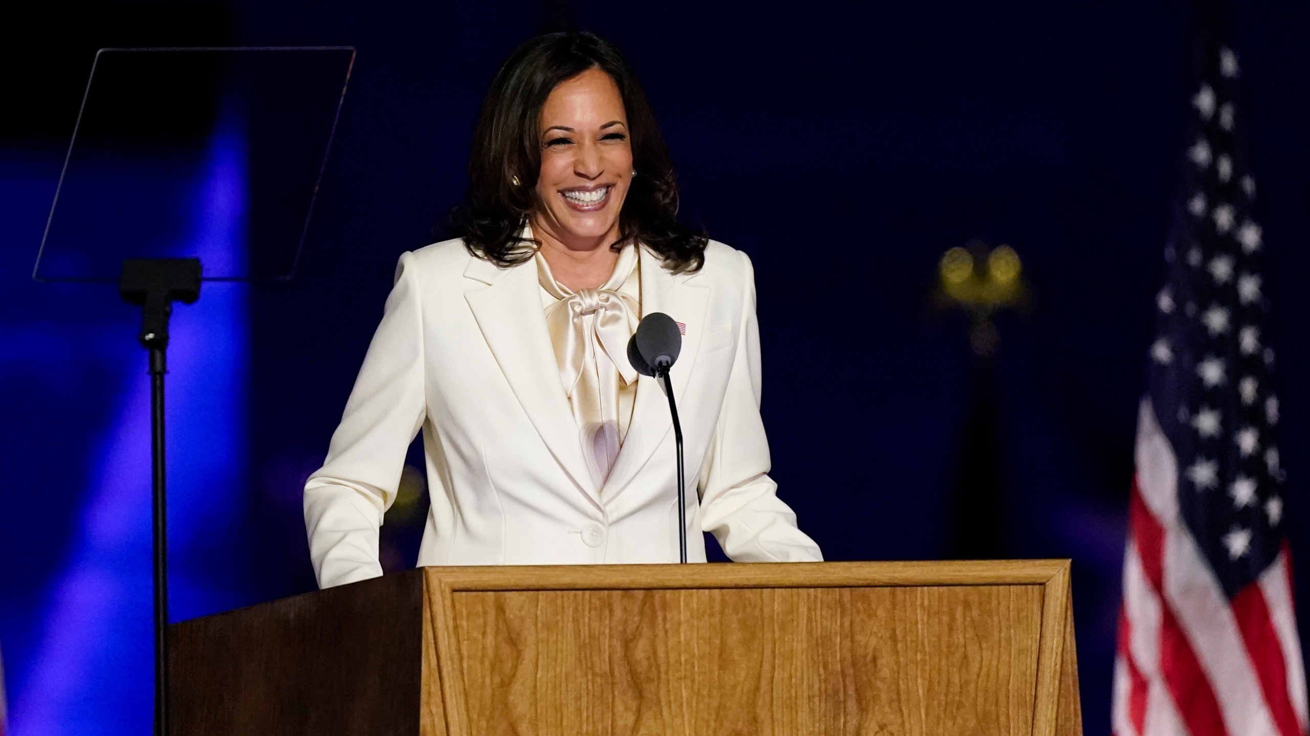 Vice President-elect Kamala Harris speaks Saturday, Nov. 7, 2020, in Wilmington, Del. (Andrew Harnik/AP Photo)