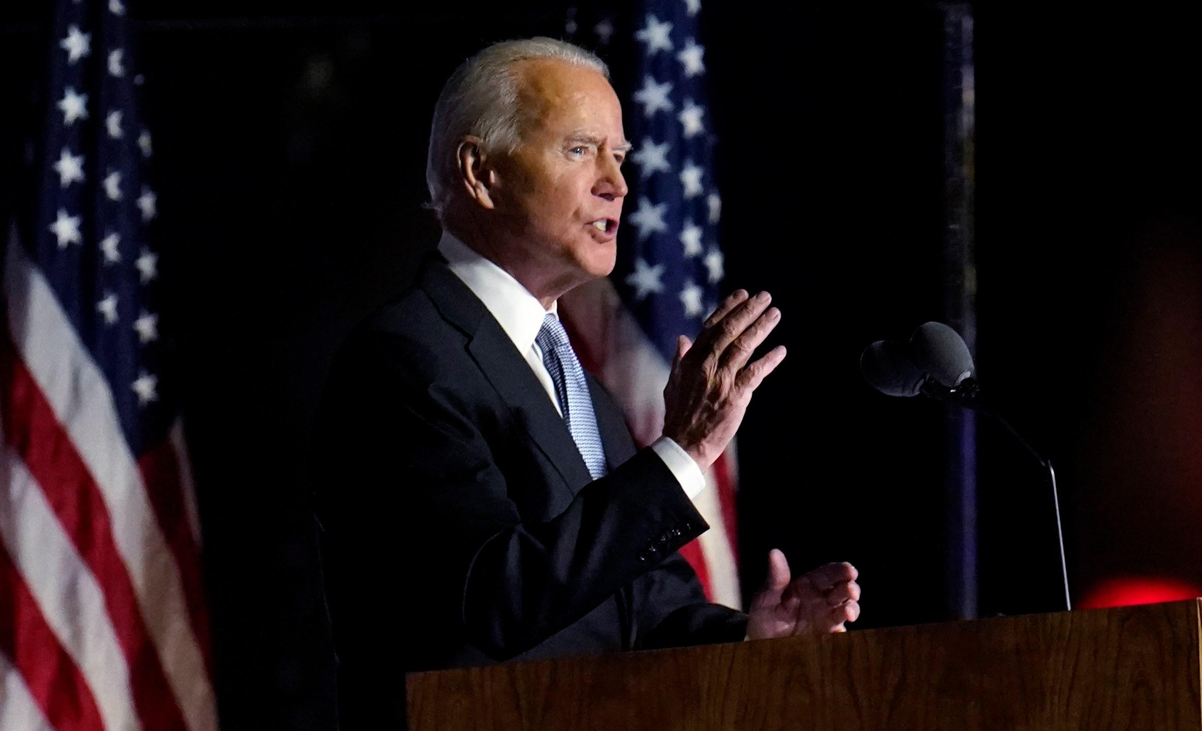 President-elect Joe Biden speaks in Wilmington, Del., Saturday, Nov. 7, 2020. (Paul Sancya/AP Photo)