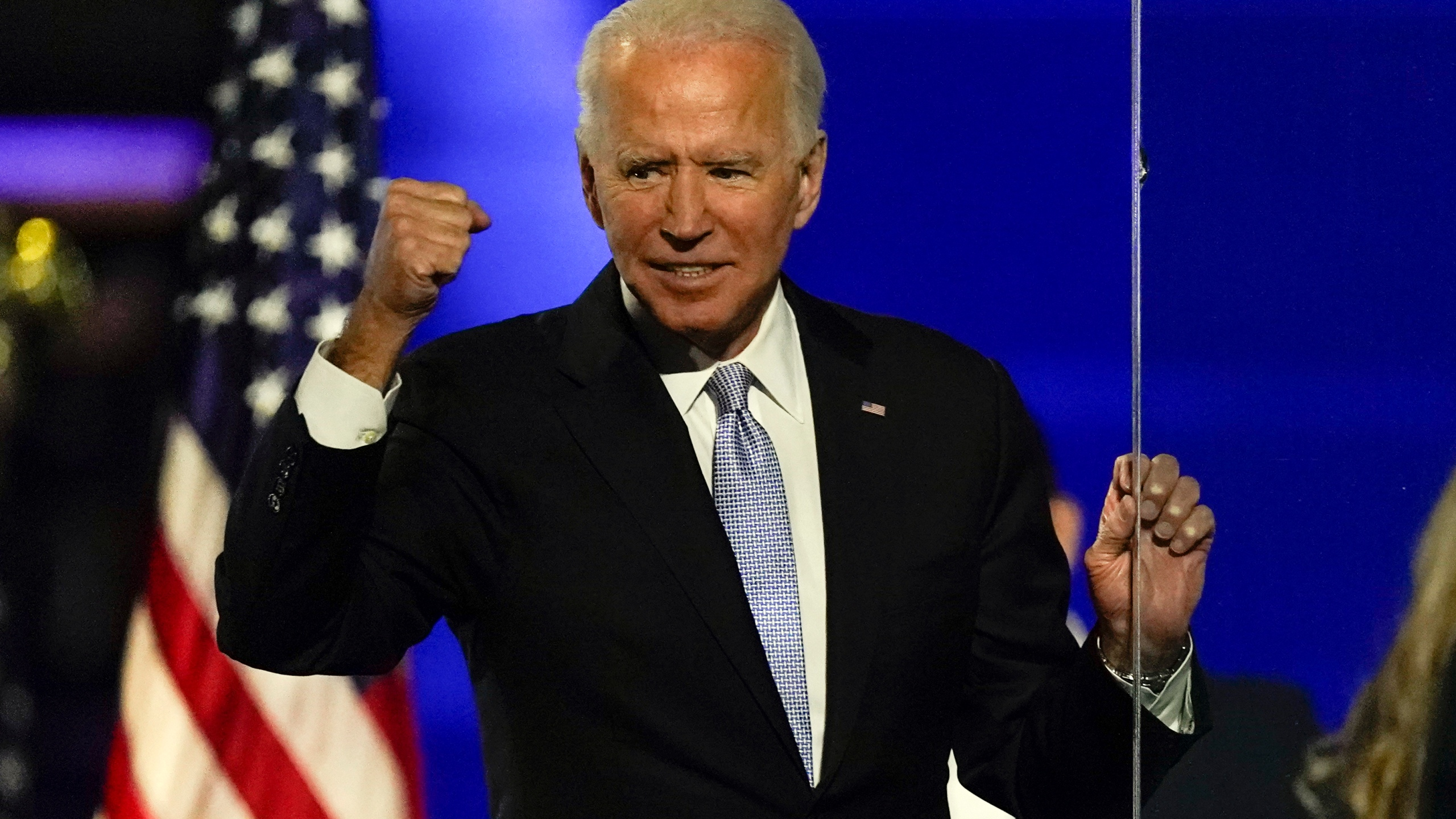 President-elect Joe Biden gestures to supporters Saturday, Nov. 7, 2020, in Wilmington, Del. (Andrew Harnik/AP Photo)