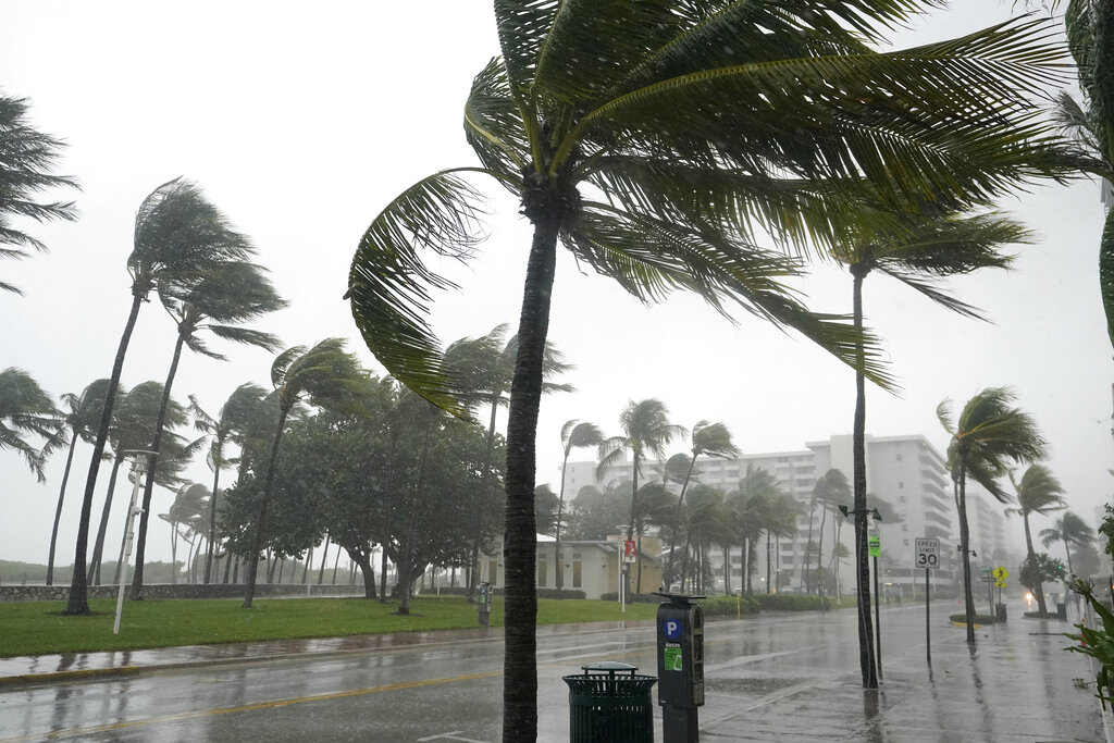 A normally bustling Ocean Drive is shown during a downpour, Sunday, Nov. 8, 2020, on Miami Beach, Florida's famed South Beach. (AP Photo/Wilfredo Lee)