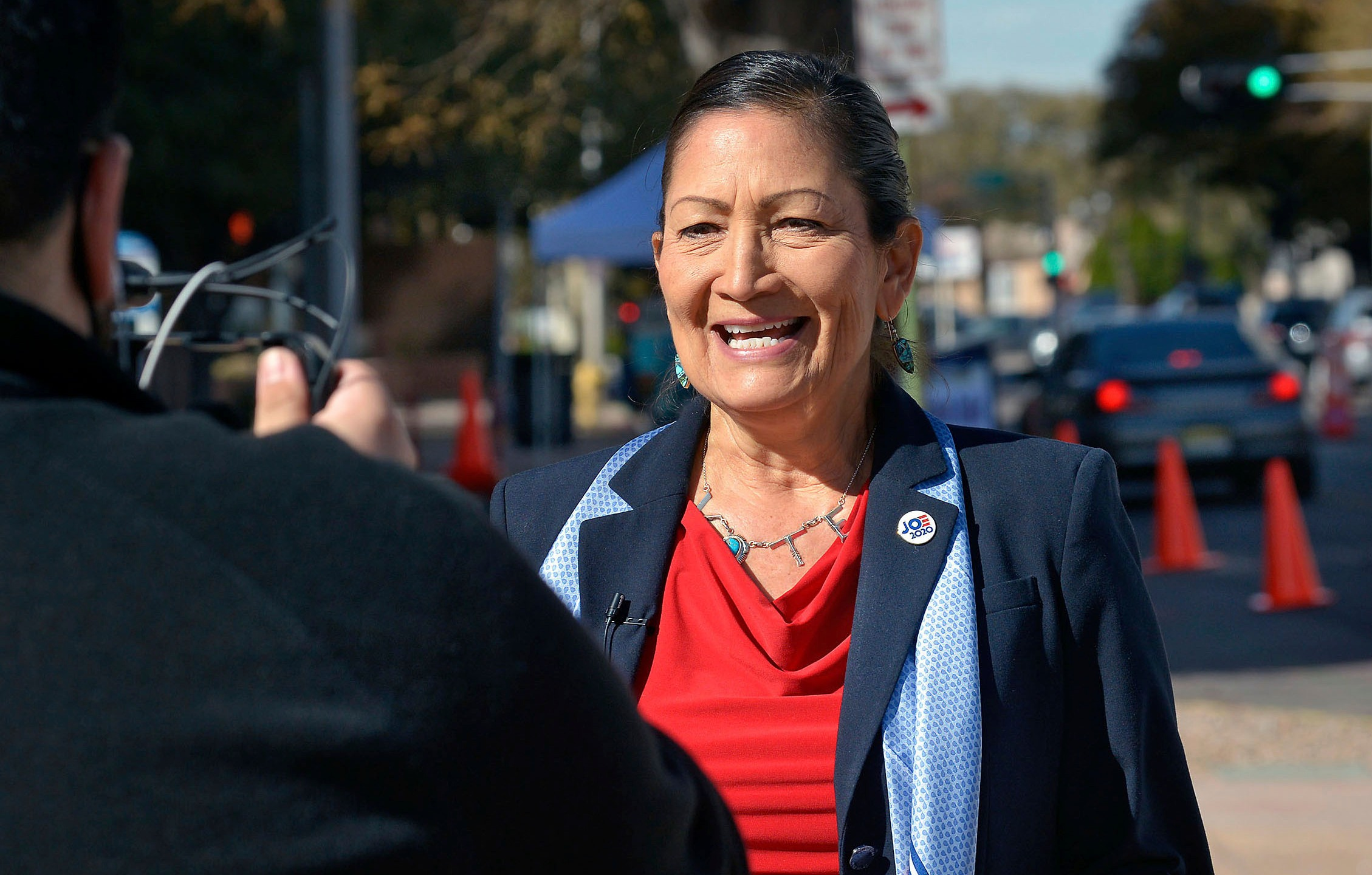 In this Nov. 3, 2020, file photo, Democratic Congresswoman Deb Haaland, N.M.-1st Dist., does a PSA for her Twitter account in downtown Albuquerque, N.M. (Jim Thompson/The Albuquerque Journal via AP, File)