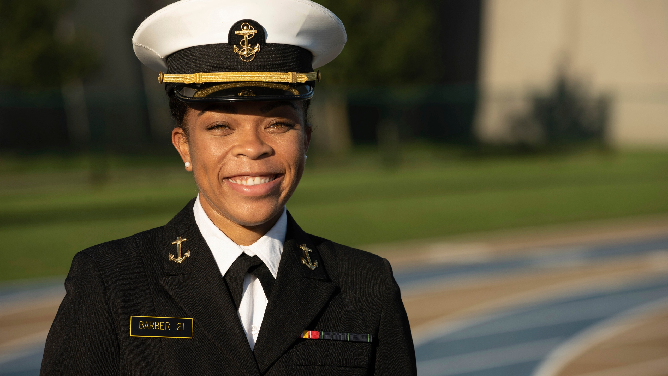 This undated photo provided by the U.S. Navy shows Midshipman 1st Class Sydney Barber, from Lake Forest, Ill. Barber is slated to be the Naval Academy's first African American female brigade commander, the U.S. Naval Academy announced Monday, Nov. 9, 2020. (Petty Officer 2nd Class Nathan Burke/U.S. Navy via AP)