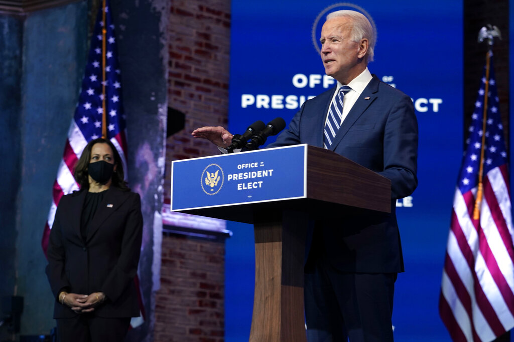 President-elect Joe Biden speaks on Nov. 10, 2020, at The Queen theater in Wilmington, Del. (AP Photo/Carolyn Kaster)