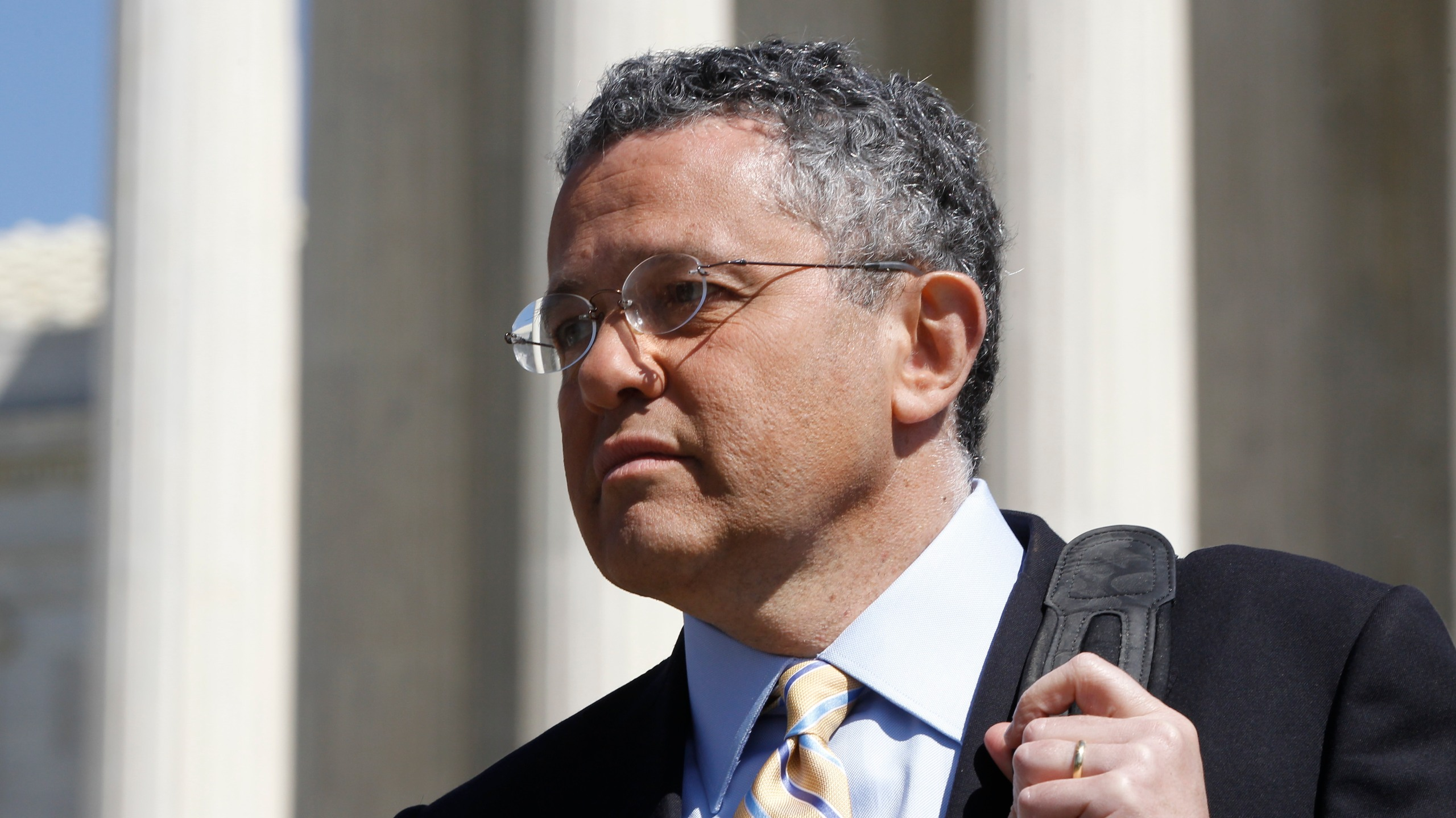 Jeffrey Toobin leaves the Supreme Court after it finished the day's arguments on the health care law signed by President Barack Obama in Washington on March 27, 2012. The New Yorker has parted ways with longtime staff writer Toobin after he reportedly exposed himself during a Zoom conference last month. He had already been on suspension and is also on leave from CNN, where he has been a legal commentator. (AP Photo/Charles Dharapak/Associated Press)