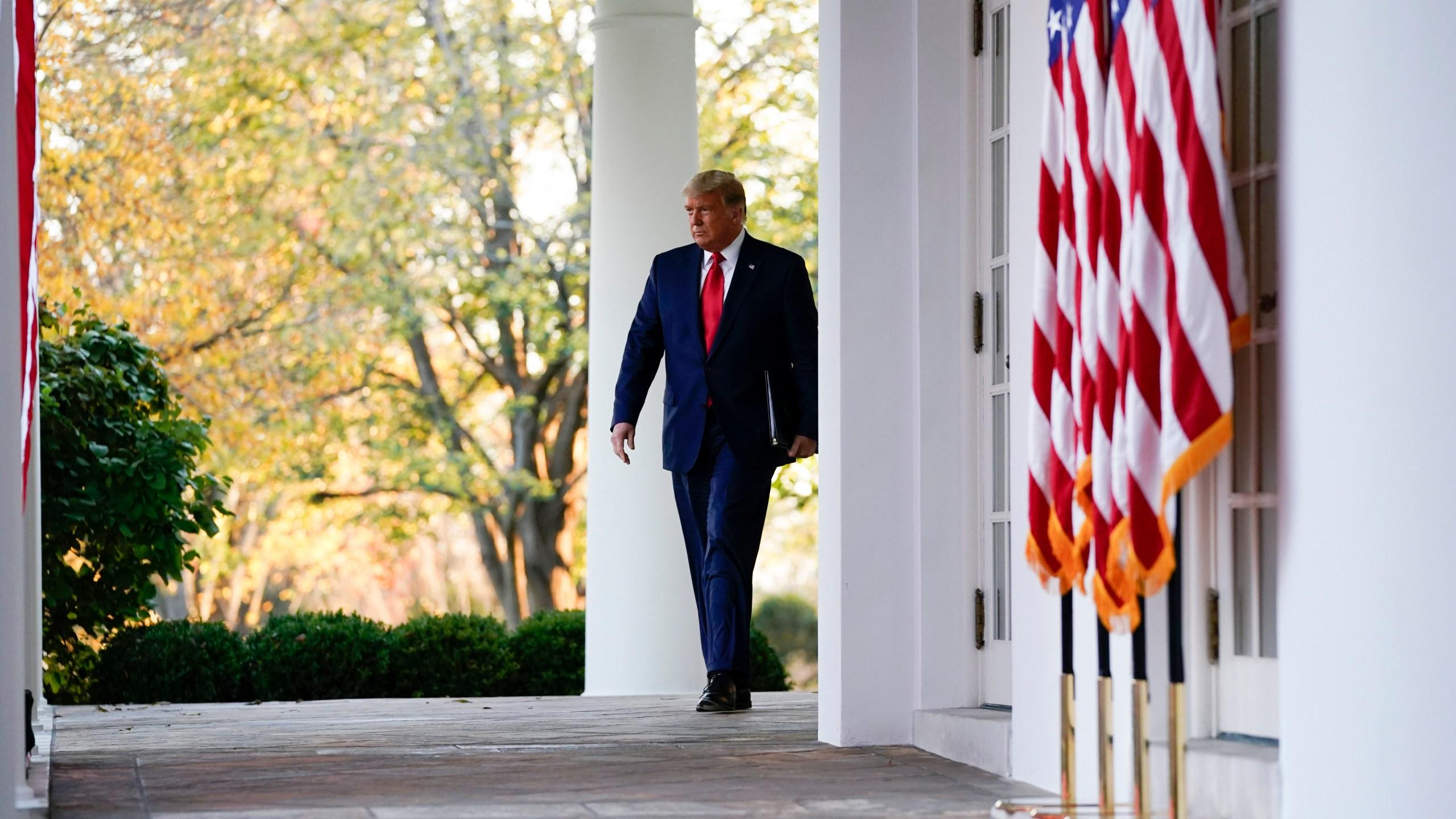 President Donald Trump arrives to speak in the Rose Garden of the White House on Nov. 13, 2020. (Evan Vucci/Associated Press)