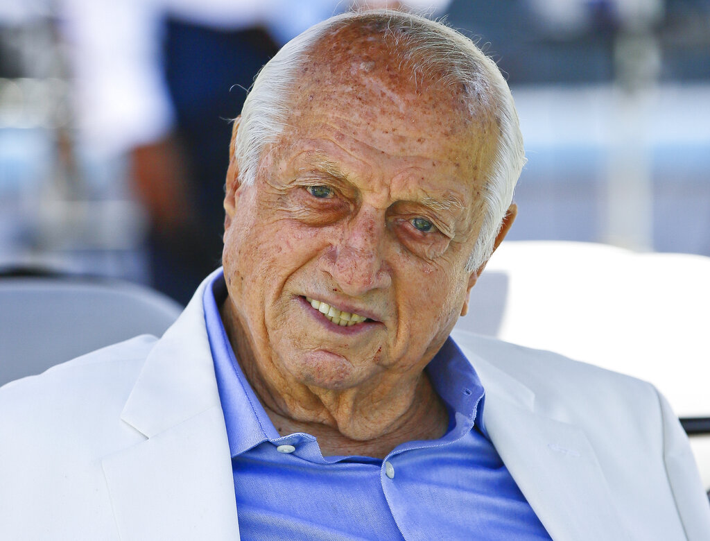 Los Angeles Dodgers former manager and Hall of Famer Tommy Lasorda attends a news conference in Los Angeles on April 11, 2018. (Damian Dovarganes / Associated Press)