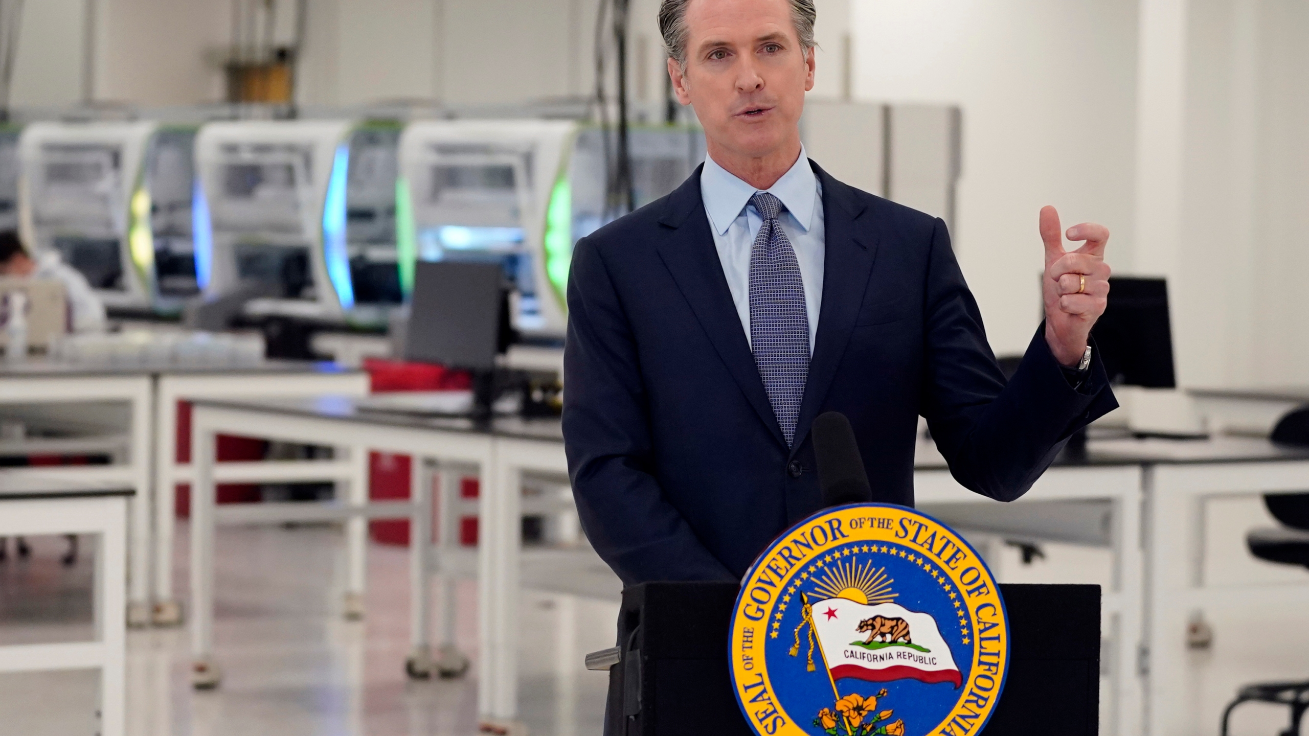 """In this Oct. 30, 2020, file photo, California Gov. Gavin Newsom speaks at a COVID-19 testing facility in Valencia, Calif. Newsom on Monday, Nov. 16, 2020, apologized for what he called """"a bad mistake"""" in attending a birthday party that broke the very rules that he has been preaching to slow the spread of the coronavirus. (AP Photo/Marcio Jose Sanchez, Pool, File)"""