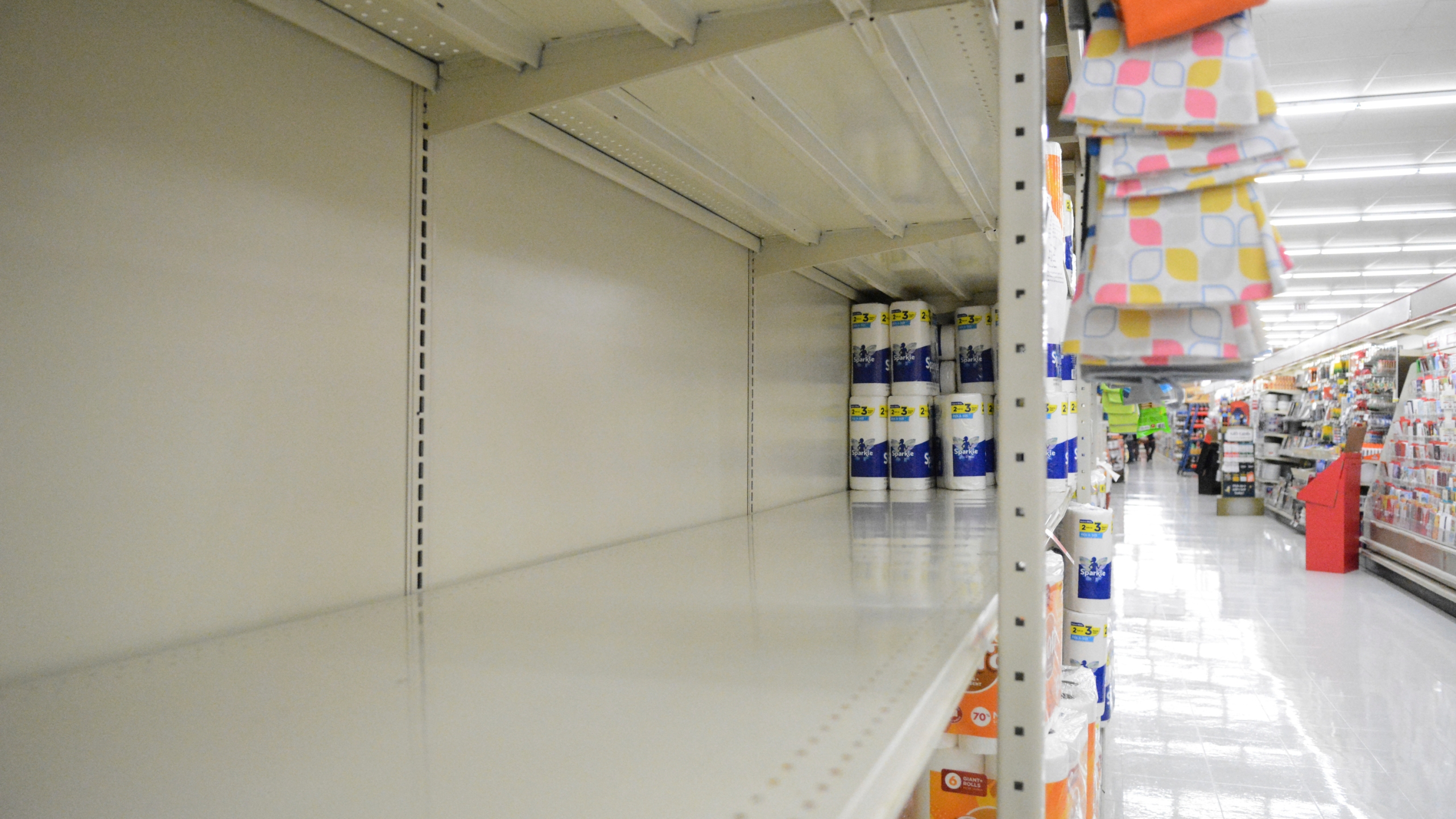In this Monday, Nov. 2, 2020, file photo, a section of shelving that normally holds paper towels sits empty at Redner's in Schuylkill Haven, Pa., amid the latest surge of the coronavirus pandemic. (Lindsey Shuey/The Republican-Herald via AP)