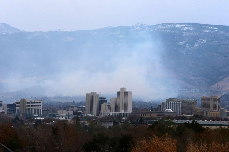 Wildfires in southwest Reno destroy a number of homes in the Juniper Hills area of Reno, Nevada, on Nov.17, 2020. (Lance Iversen / Associated Press)