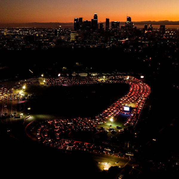 Motorists wait in long lines to take a coronavirus test in a parking lot at Dodger Stadium on Nov. 18, 2020. (Ringo H.W. Chiu / Associated Press)