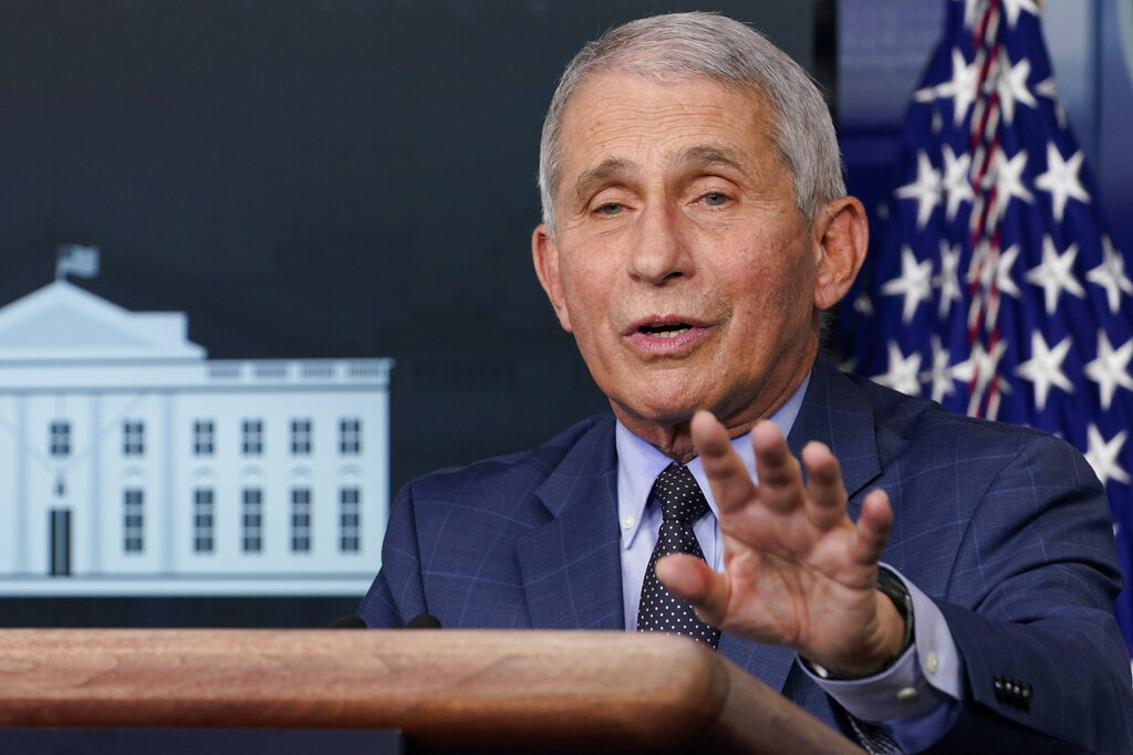 Dr. Anthony Fauci, director of the National Institute for Allergy and Infectious Diseases, speaks during a news conference with the coronavirus task force at the White House in Washington on Nov. 19, 2020. (AP Photo/Susan Walsh)
