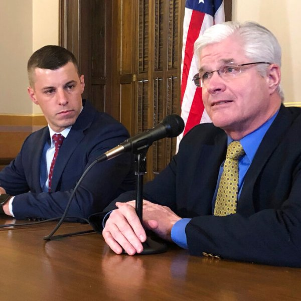 In this Jan. 30, 2020 file photo, Senate Majority Leader Mike Shirkey, R-Clarklake, right, and House Speaker Lee Chatfield, R-Levering, left, speak to the media at the Michigan Capitol in Lansing, Mich. (AP Photo/David Eggert)