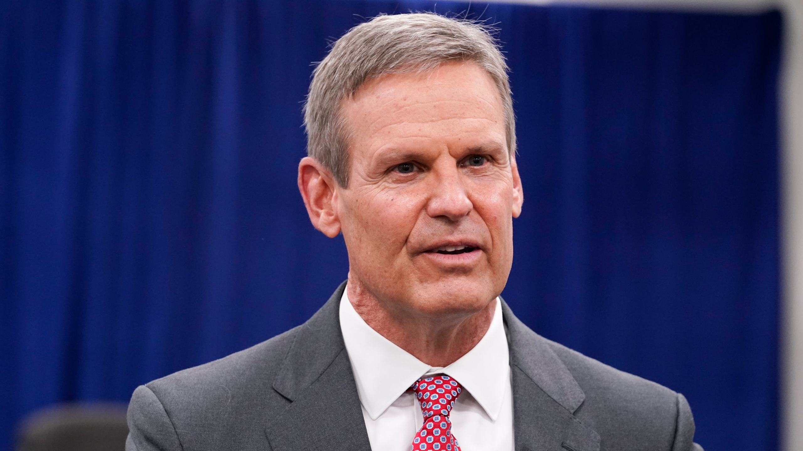 Tennessee Gov. Bill Lee speaks with reporters in Nashville on Nov. 10, 2020. (Mark Humphrey / Associated Press)