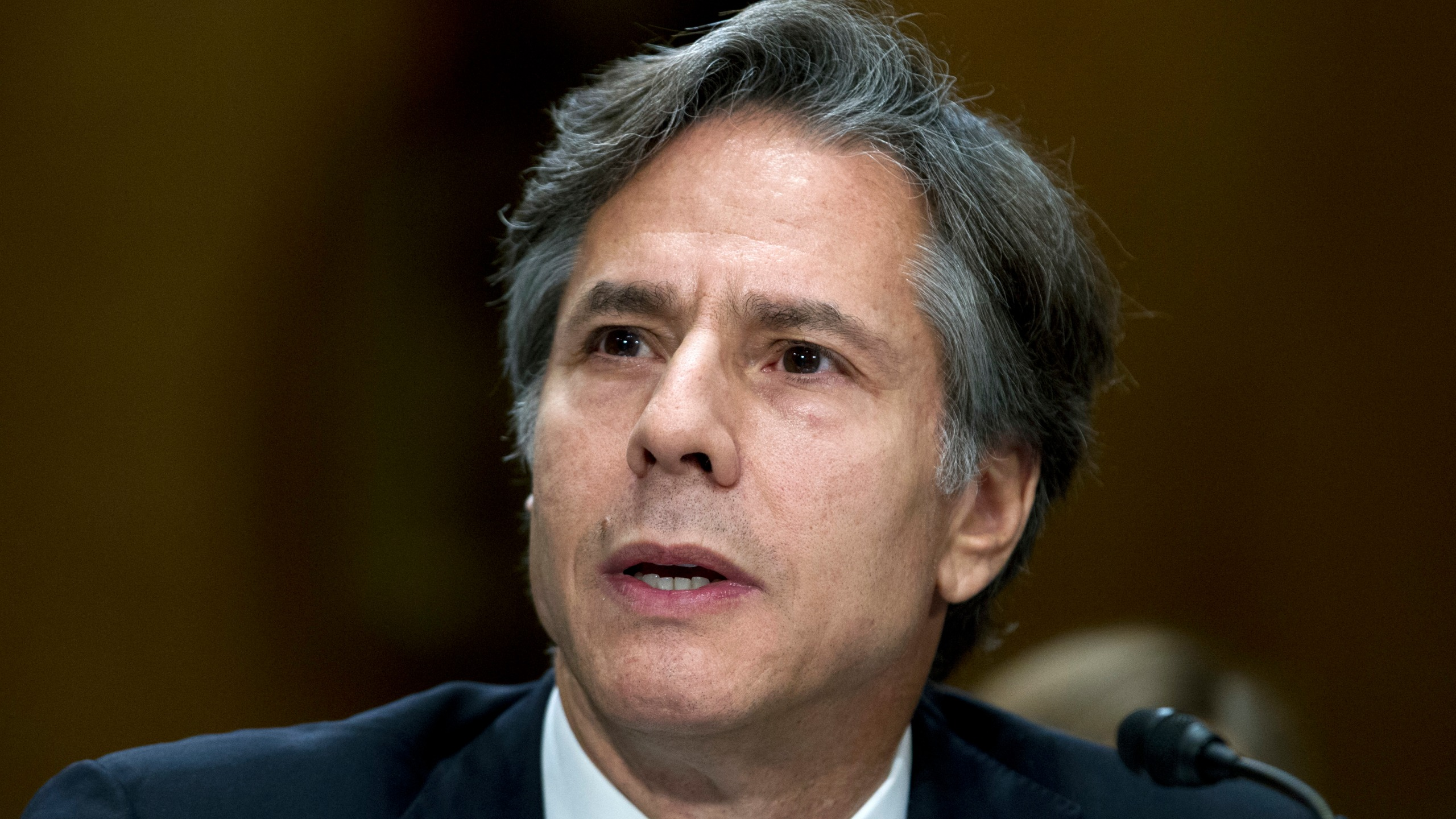 In this Thursday, Sept. 29, 2016, file photo, Deputy Secretary of State Antony Blinken testifies on Capitol Hill in Washington, before the Senate Foreign Relations Committee hearing on Syria. (AP Photo/Jose Luis Magana, File)
