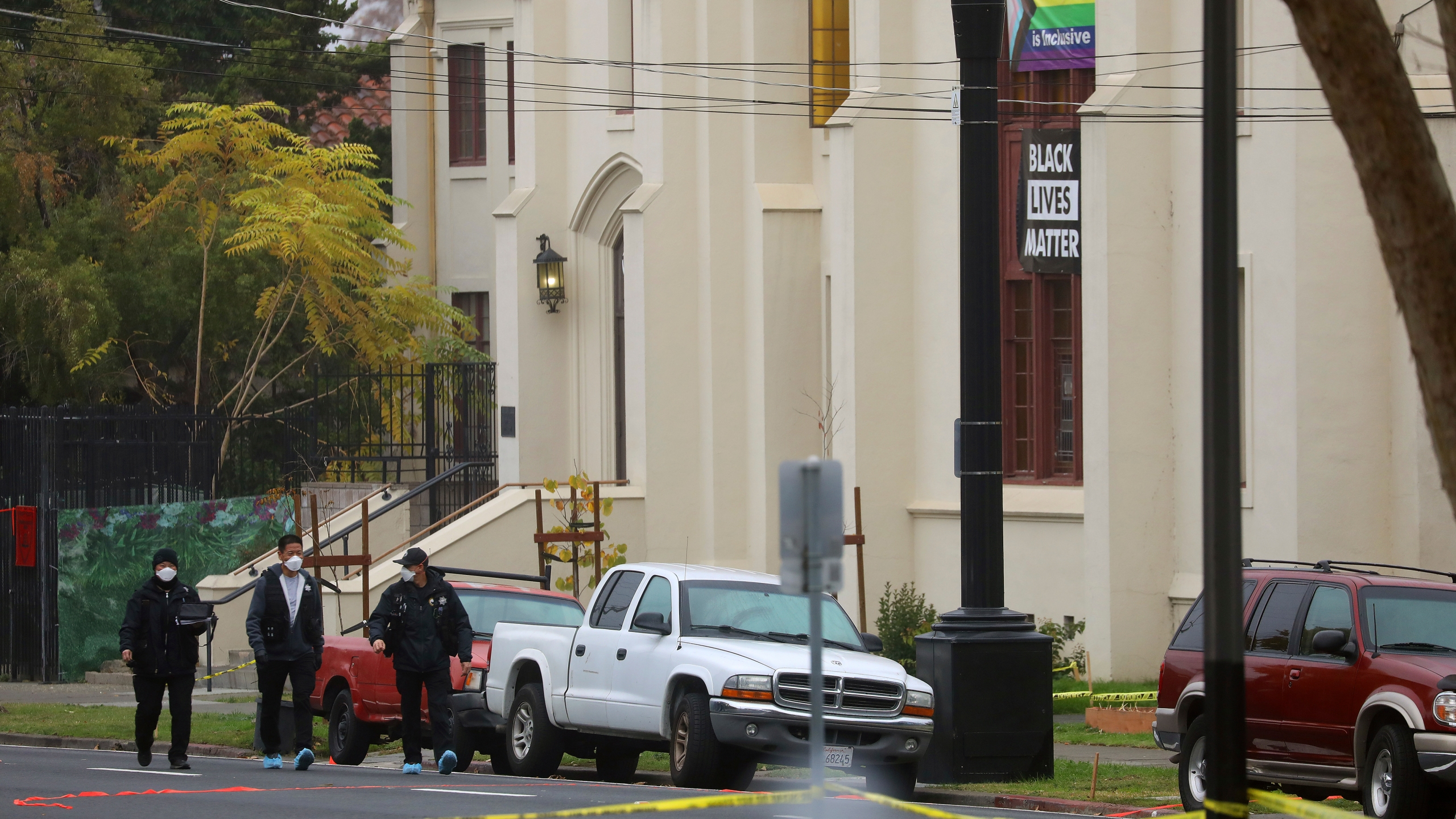 Members of the San Jose Police Department investigate a homicide scene at Grace Baptist Church in San Jose on Nov. 23, 2020. (Aric Crabb / Bay Area News Group via Associated Press)