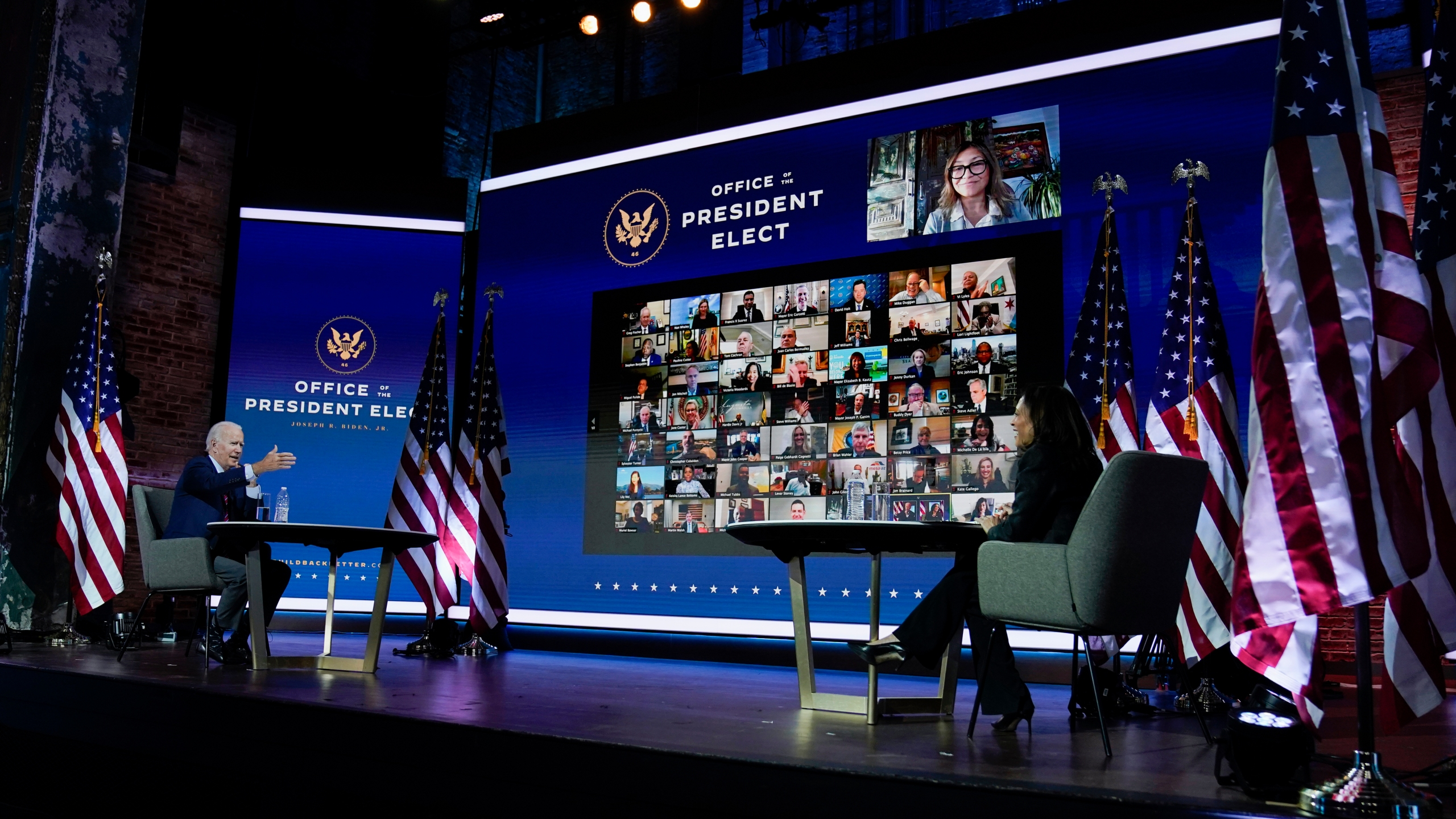 President-elect Joe Biden and Vice President-elect Kamala Harris attend a meeting at The Queen theater Monday, Nov. 23, 2020, in Wilmington, Del. (AP Photo/Carolyn Kaster)