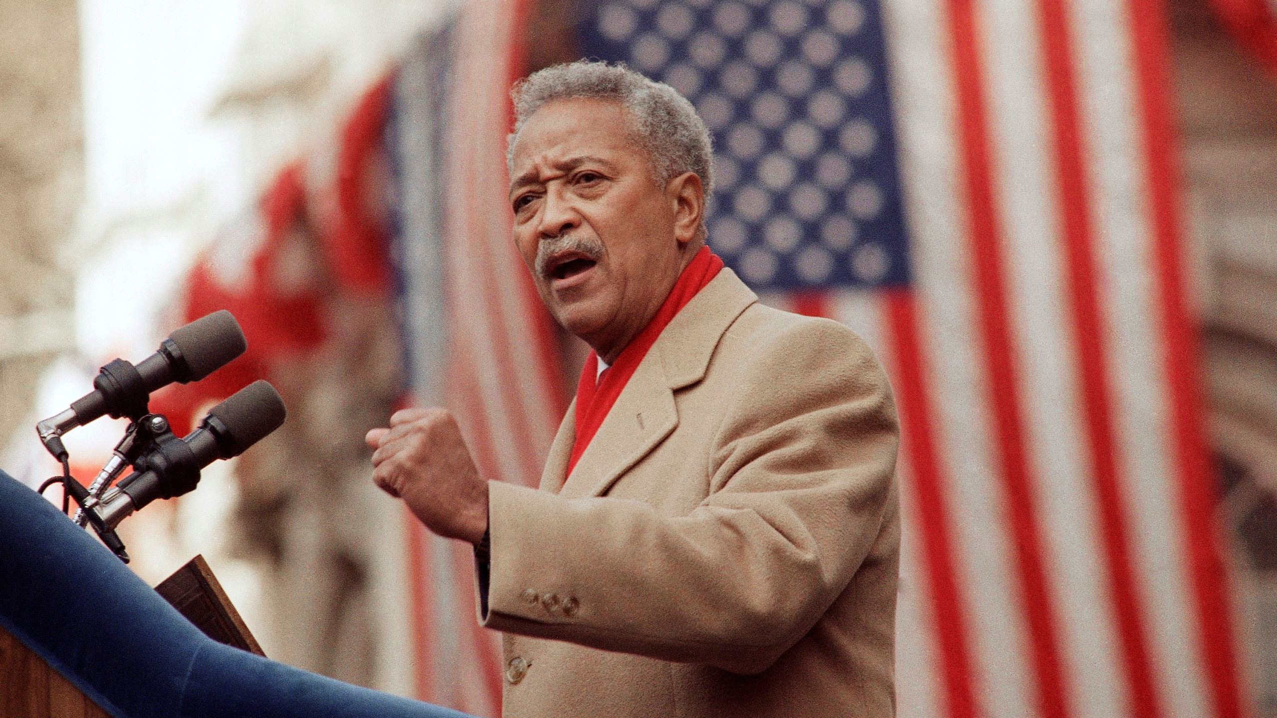 David Dinkins delivers his first speech as mayor of New York on Jan. 2, 1990. (Frankie Ziths / Associated Press)