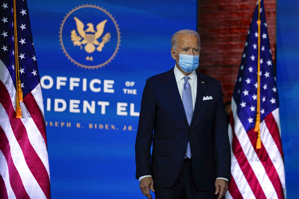 President-elect Joe Biden arrives to introduce his nominees and appointees to key national security and foreign policy posts at The Queen theater, Tuesday, Nov. 24, 2020, in Wilmington, Del. (AP Photo/Carolyn Kaster)