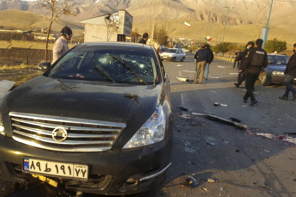 This photo released by the semi-official Fars News Agency shows the scene where Mohsen Fakhrizadeh was killed in Absard, a small city just east of the capital, Tehran, Iran on Nov. 27, 2020. (Fars News Agency via AP)