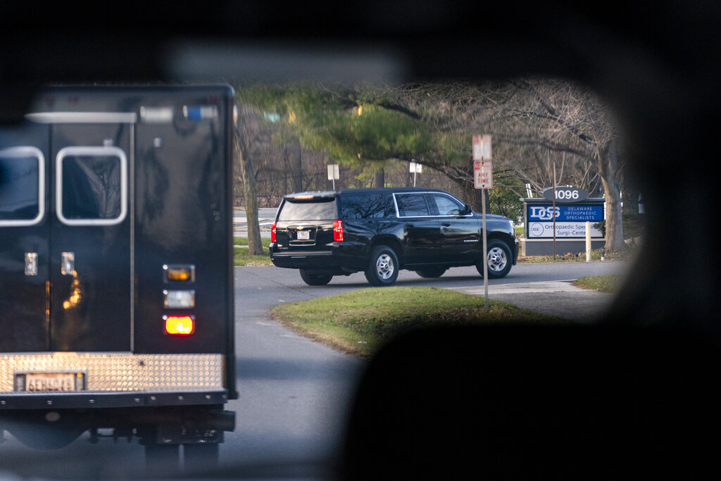 A motorcade with President-elect Joe Biden aboard arrives at Delaware Orthopaedic Specialists to see a doctor on Nov. 29, 2020, in Newark, Del. (AP Photo/Carolyn Kaster)