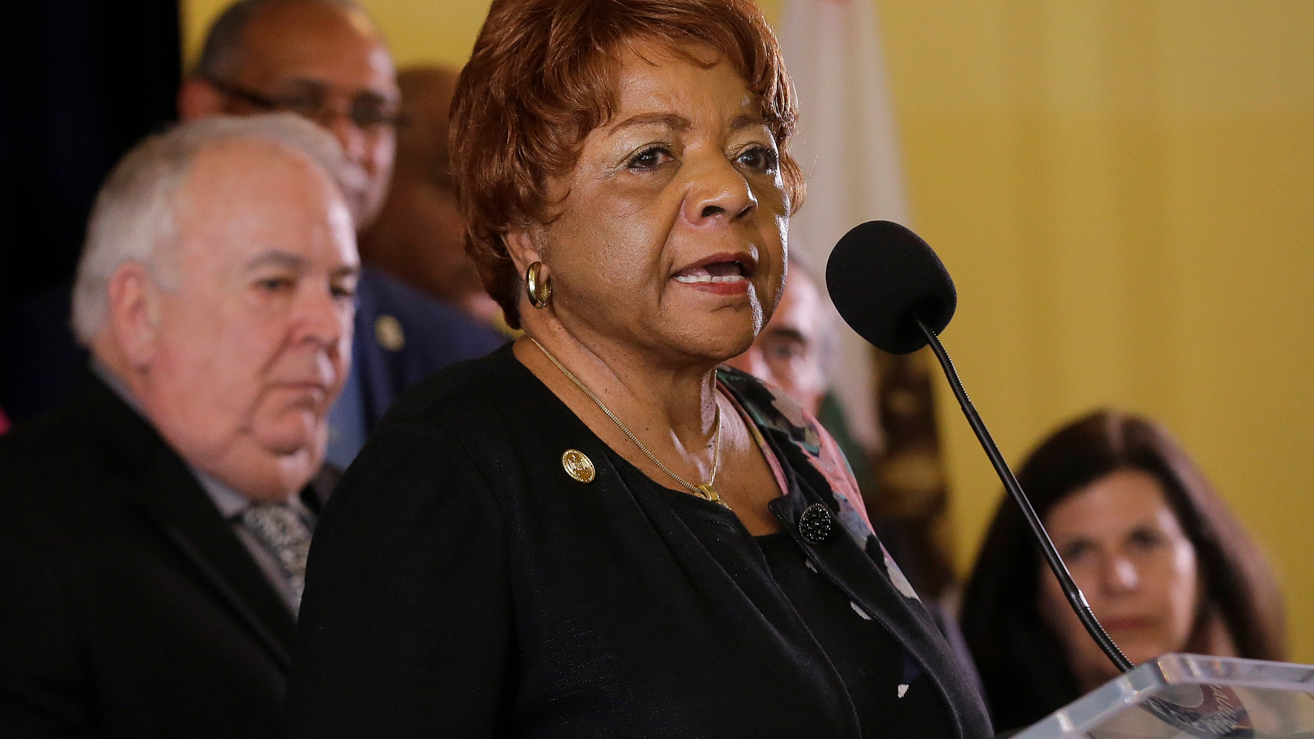 Alice Huffman, President of the California NAACP, speaks at a news conference in support of the Adult Use of Marijuana Act ballot measure in San Francisco, Wednesday, May 4, 2016. (Jeff Chiu/AP Photo)